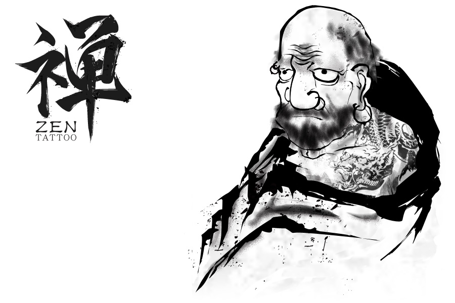 Zen Tattoo Logo & Buddhist monk